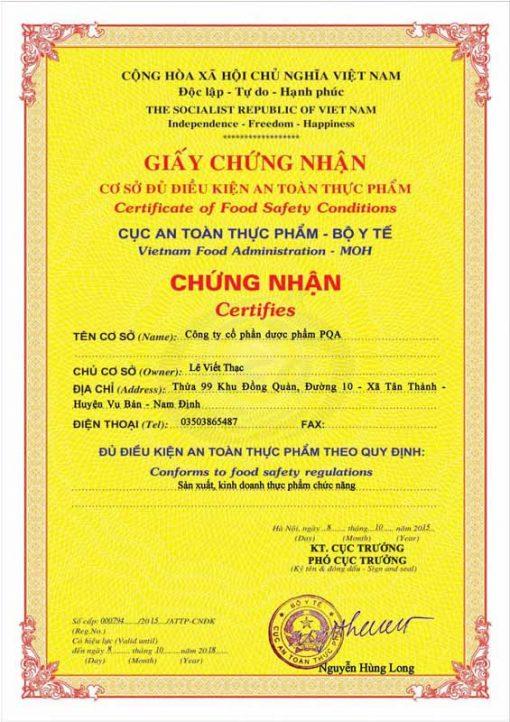 chứng nhận an toàn vệ sinh thực phẩm